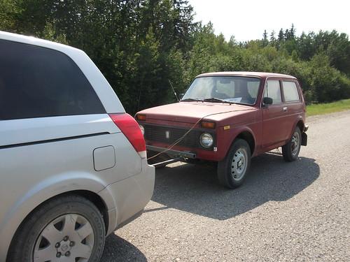 1991 Lada Niva in tow