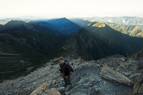 Jade Mountain Shadow and Hiker