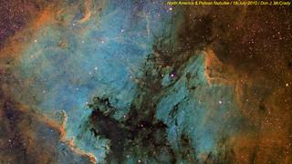 North America and Pelican Nebulae (narrowband)