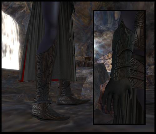 female dark elf - gloves and boots detail