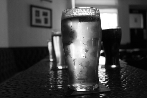 Arty pints of beer - monochrome