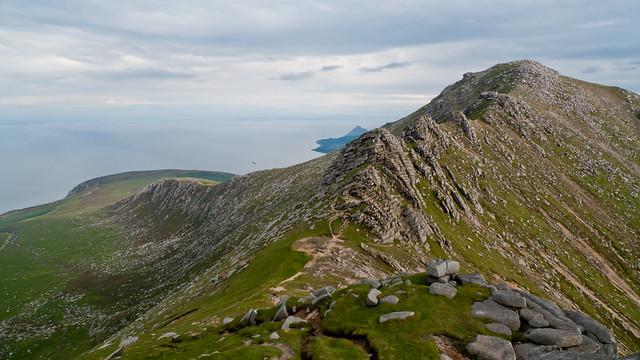 Climbing North Goatfell, Glen Sannox on left