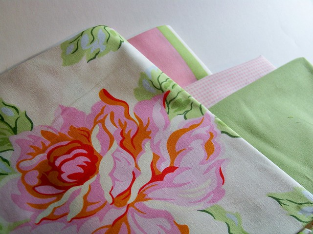 fabric for quilt - heather bailey nicey jane pink roses, gingham, soft green kona solid and coordinating stripe
