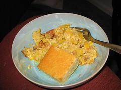 Dinner: baked squash & sweet cornbread... yellow!