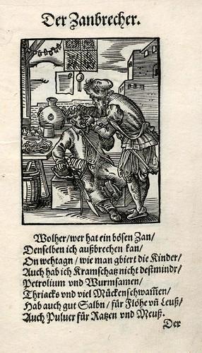 031-El saca muelas-dentista-Ständebuch 1568-Jost Amman-Hans Sachs