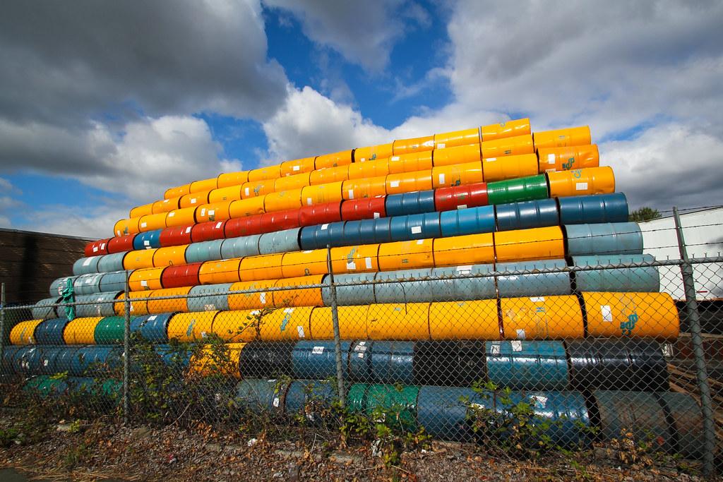 West Marginal Way oil barrels