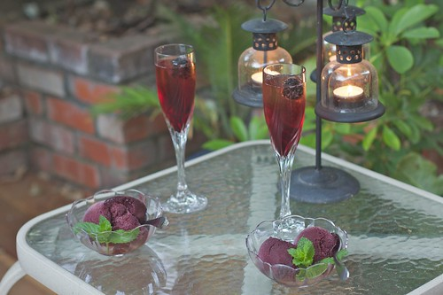 Kir Royales and blackberry sorbet