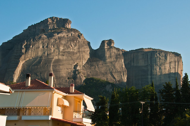Some of the Meteora pinnacles from our B&B