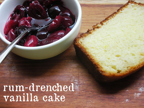 rum-drenched vanilla cake