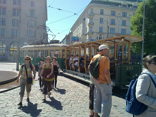 Old tram and open carriage
