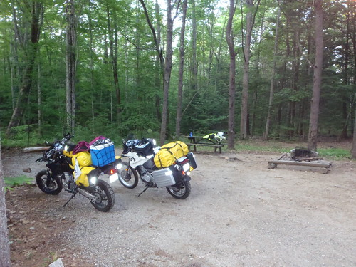 Elsa (DR-Z400SM) and Maxx (F650GS Dakar) at Bradbury Mountain State Park