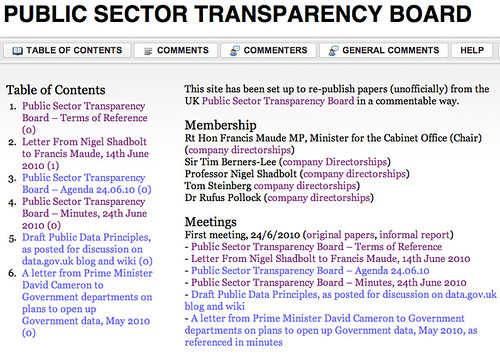Public Sector Transparency Board, WTR
