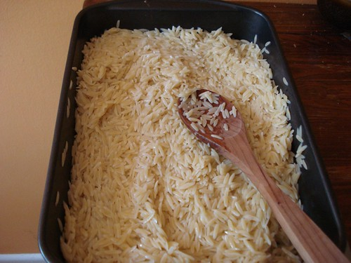 Orzo in the pan