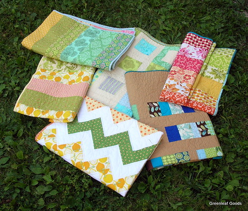 Wedding quilts in the grass