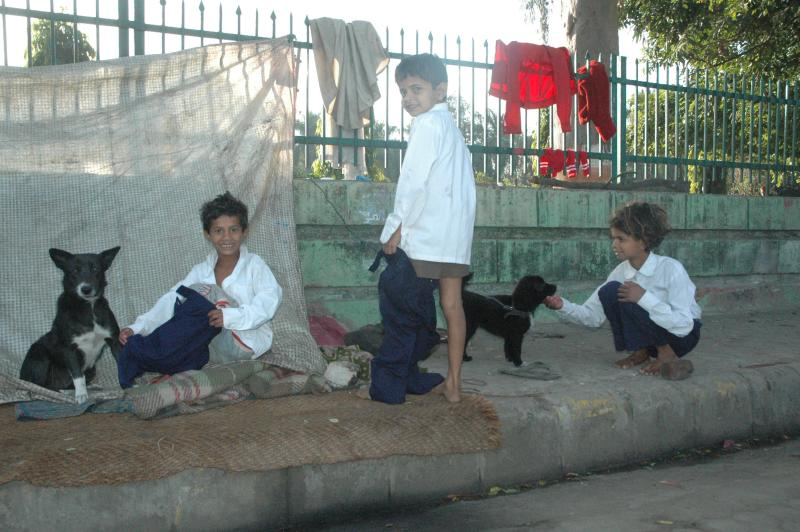 Getting ready, staying by the road, Dehradun, India