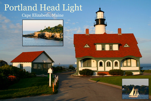 Portland Head Light postcard with layers