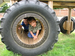 boys in tyre at blickling