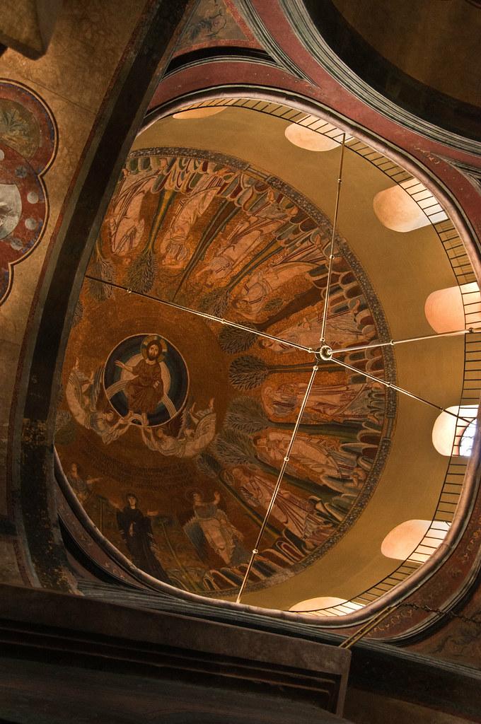 Frescos inside the dome of Aghias Sofia, Thessaloniki