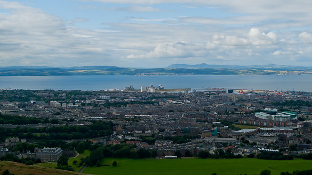 Edinburgh suburbs and the Firth of Forth from Arthur's Seat
