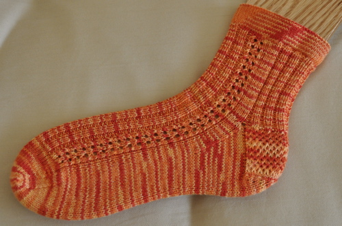 Persimmon eyelet socks.