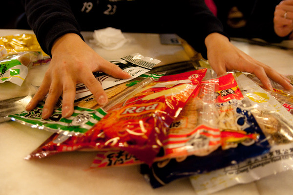 Asian snack food tasting