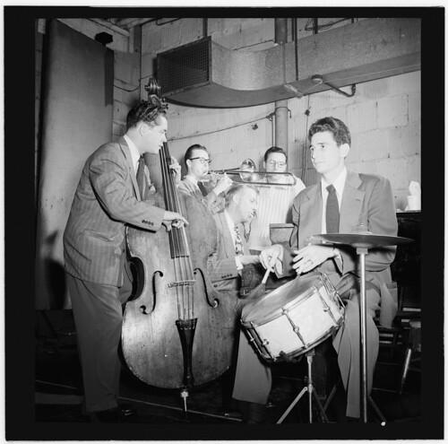 [Portrait of Stan Kenton, Kai Winding, Eddie Safranski, Pete Rugolo, and Shelly Manne, New York, N.Y.(?), ca. Jan. 1947] (LOC)