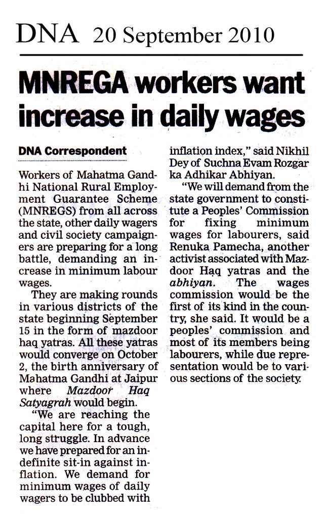 DNA - 20 Sep 2010 - MNREGA workers want increase in daily wages
