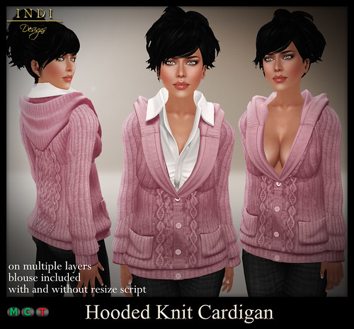 Hooded-Knit-cardigan-pink