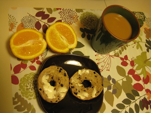 breakfast on 11-12-10-mini bagel, orange, coffee