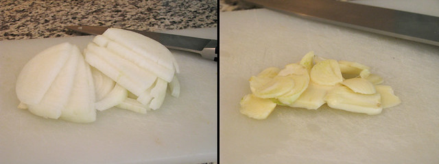 Sliced Onion and Garlic