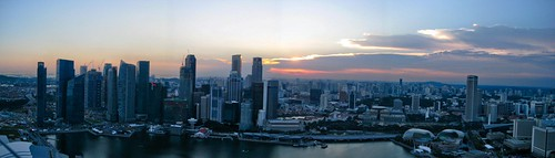 sunset with singapore skyline