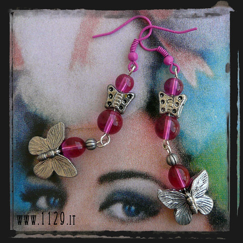 LGFARF orecchini rosa farfalla - pink butterfly earrings 1129