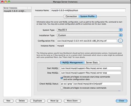 Manage Server Instances - System Profile