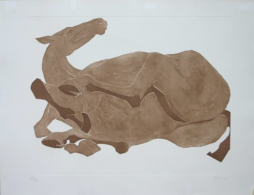 Rolling Over Horse, a signed, limited edition lithograph by Dame Elizabeth Frink