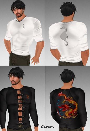 MHOH4 # 80 Schwarz Seahorse and Dragon Shirts
