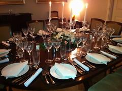 Dinner table set for dinner party