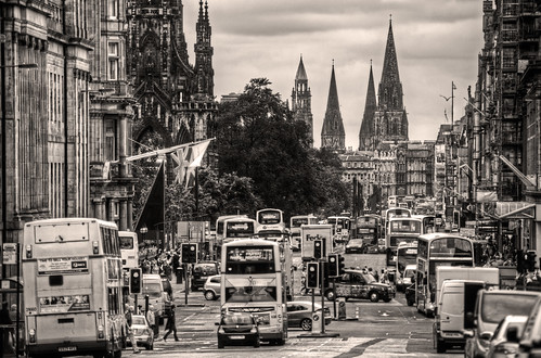 Looking down Princes Street sepia