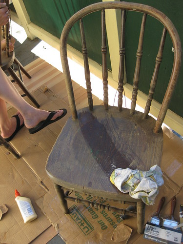 Sanding the chairs