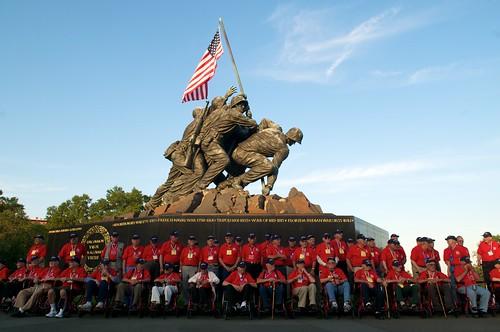 Group photo at Marine Memorial of Iwo Jima