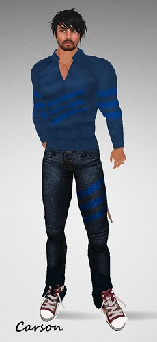 #122 SNG Fashions Gift Blue Striped Shirt and Pants