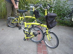 Pair o Bright Yellow Bromptons