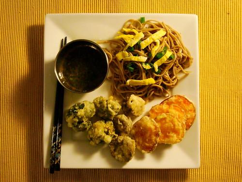 Cold Soba Salad and Tempura