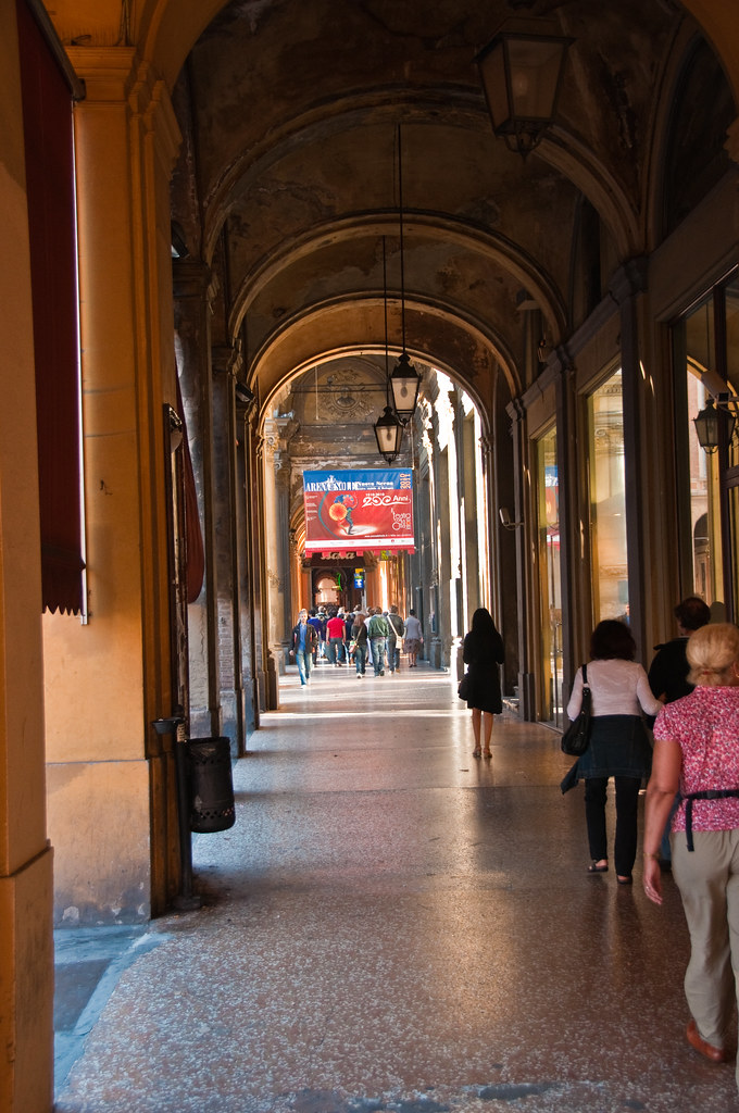 Sunday morning in the arcades of Bologna