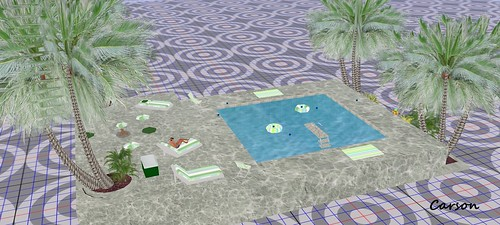 Arte's Leisure Pool Diving  Board and Plants  MM