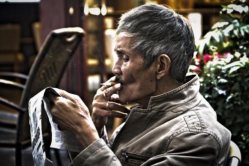 smoking old man in shanghai