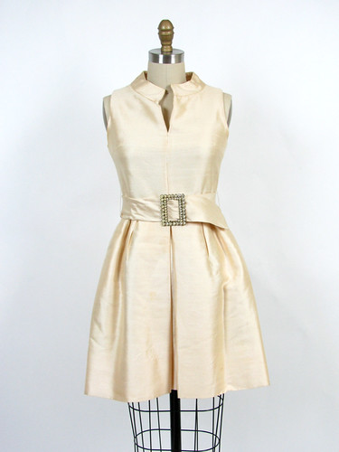 60's raw silk mod dress