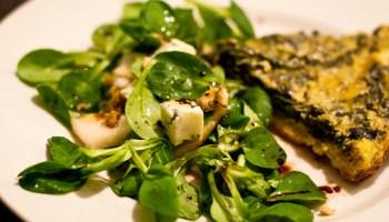 Herfstsalade met spinazietaart