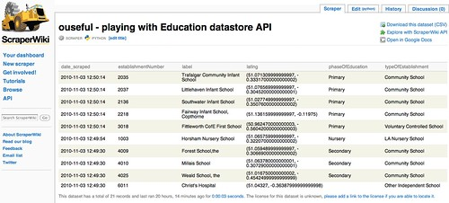 Example scraperwiki datatable - education datastore API