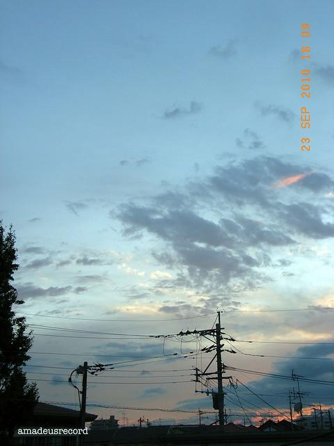 秋分の日の夕焼け。