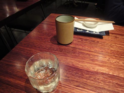 Enma shochu and green tea